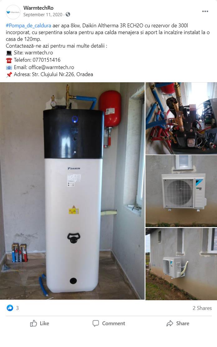 Pompa de caldura aer-apa daikin ECH2O